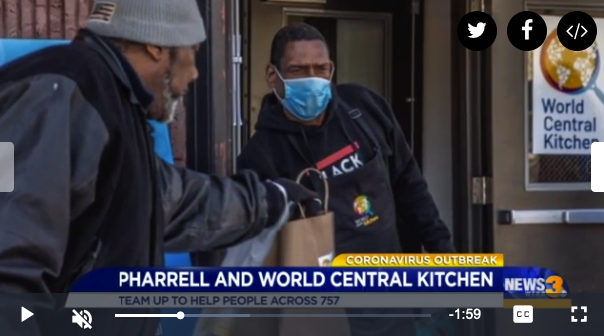 Hampton restaurants partner with Pharrell and World Central Kitchen to help feed the community